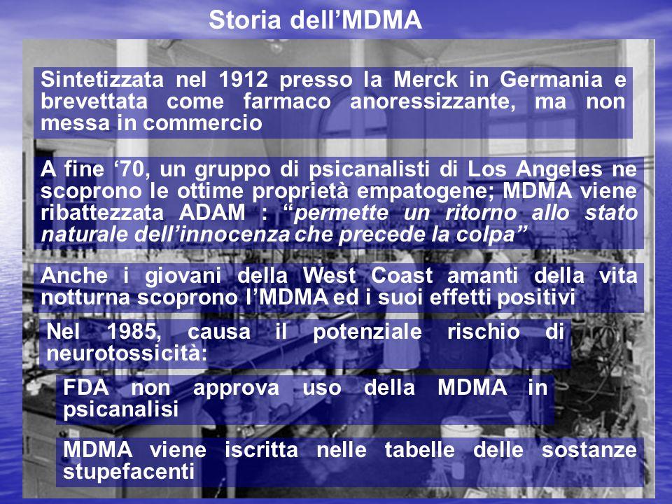 Storia dell'MDMA Sintetizzata nel 1912 presso la Merck in Germania e brevettata come farmaco anoressizzante, ma non messa in commercio A fine '70, un