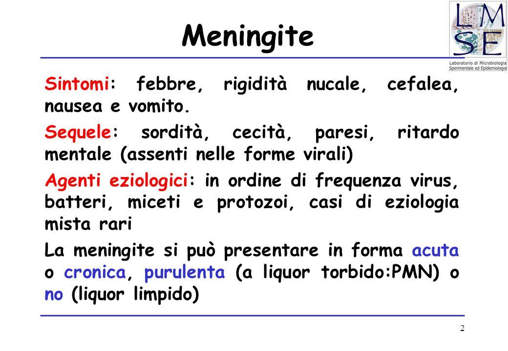 2 Meningite Sintomi: febbre, rigidità nucale, cefalea, nausea e vomito. Sequele: sordità, cecità, paresi, ritardo mentale (assenti nelle forme virali)