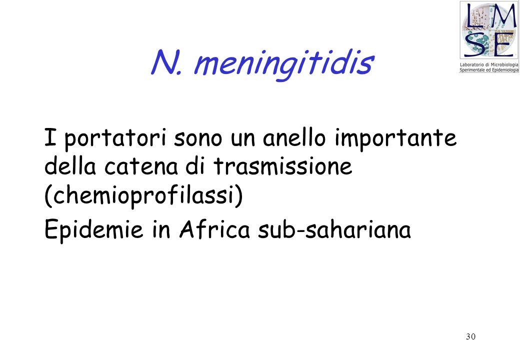 30 N. meningitidis I portatori sono un anello importante della catena di trasmissione (chemioprofilassi) Epidemie in Africa sub-sahariana
