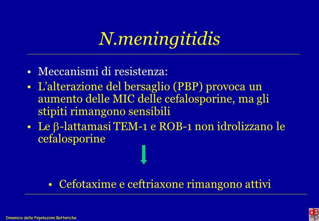 Dinamica delle Popolazioni Batteriche N.meningitidis Meccanismi di resistenza: L'alterazione del bersaglio (PBP) provoca un aumento delle MIC delle ce