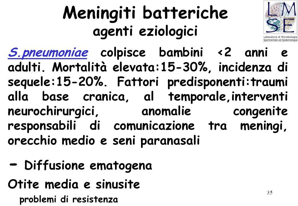35 Meningiti batteriche agenti eziologici S.pneumoniae colpisce bambini <2 anni e adulti. Mortalità elevata:15-30%, incidenza di sequele:15-20%. Fatto