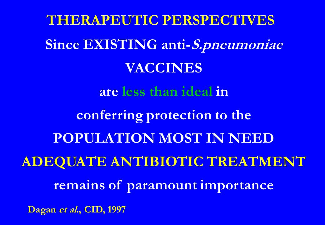 THERAPEUTIC PERSPECTIVES Since EXISTING anti-S.pneumoniae VACCINES are less than ideal in conferring protection to the POPULATION MOST IN NEED ADEQUAT