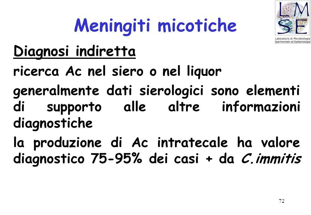 72 Meningiti micotiche Diagnosi indiretta ricerca Ac nel siero o nel liquor generalmente dati sierologici sono elementi di supporto alle altre informa