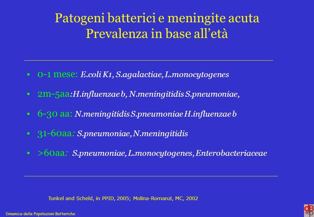 Dinamica delle Popolazioni Batteriche Patogeni batterici e meningite acuta Prevalenza Sino al 1994 H.influenzae b, < 5aa N.meningitidis < 5aa 75-80% dei casi S.pneumoniae adulti >44aa Nel periodo 1999-2001 S.pneumoniae 29% N.meningitidis 26,2% H.influenzae b 2% H.influenzae non b invasivi (1994-1998) Salmaso et al., EJE, 1997; De Carlo et al.,Inf.Med., 2000; Mastroantonio et al, CID, 2003; Cerquetti et al, JCM, 2000 eEID, 2003.