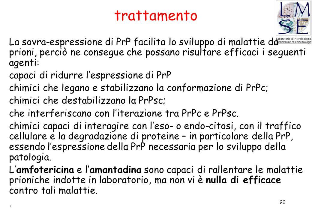 90 La sovra-espressione di PrP facilita lo sviluppo di malattie da prioni, perciò ne consegue che possano risultare efficaci i seguenti agenti: capaci