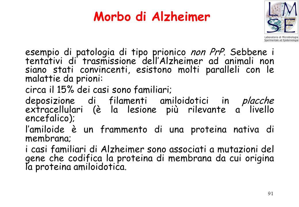 91 Morbo di Alzheimer esempio di patologia di tipo prionico non PrP. Sebbene i tentativi di trasmissione dell'Alzheimer ad animali non siano stati con