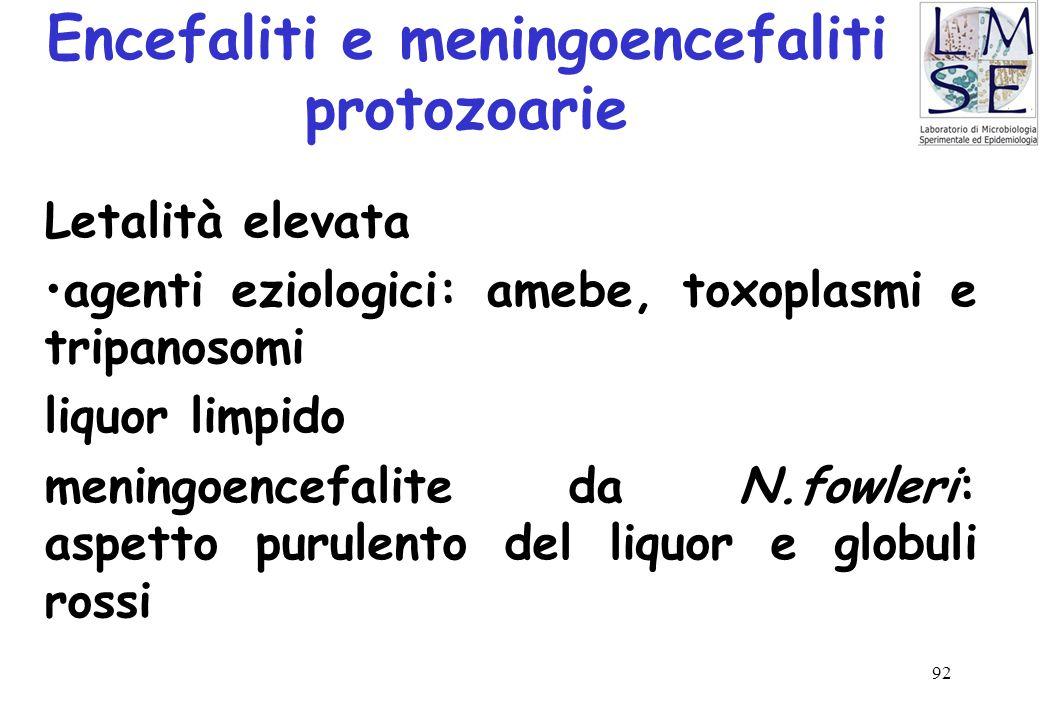 92 Encefaliti e meningoencefaliti protozoarie Letalità elevata agenti eziologici: amebe, toxoplasmi e tripanosomi liquor limpido meningoencefalite da