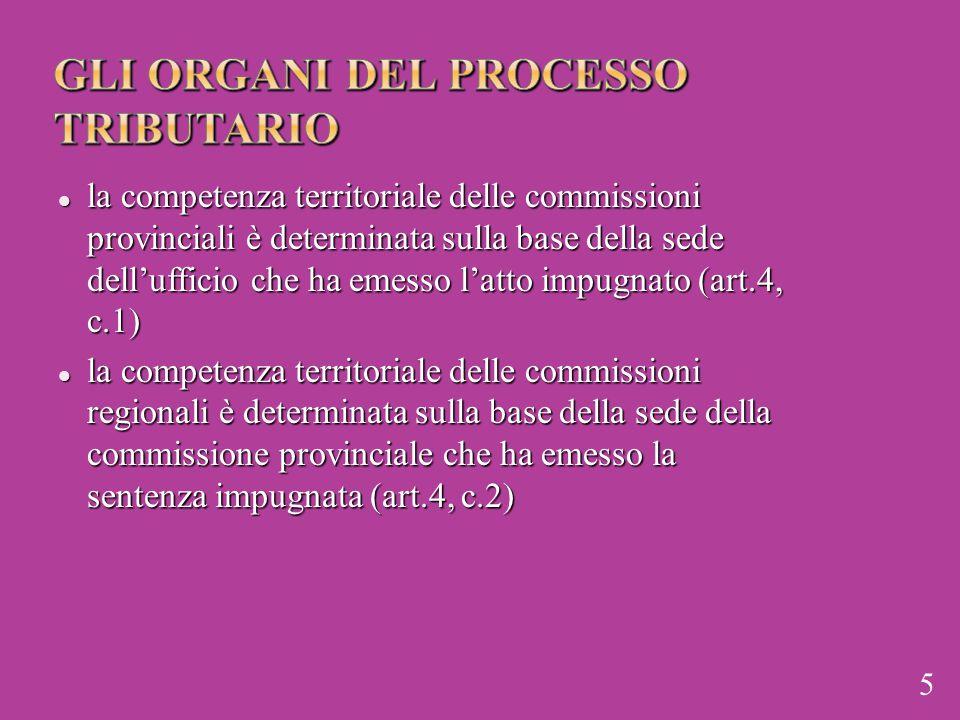 la competenza territoriale delle commissioni provinciali è determinata sulla base della sede dell'ufficio che ha emesso l'atto impugnato (art.4, c.1)