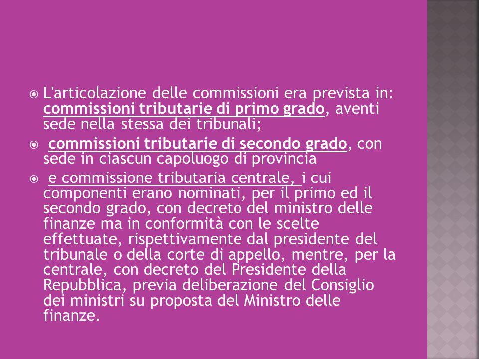 L'articolazione delle commissioni era prevista in: commissioni tributarie di primo grado, aventi sede nella stessa dei tribunali;  commissioni trib