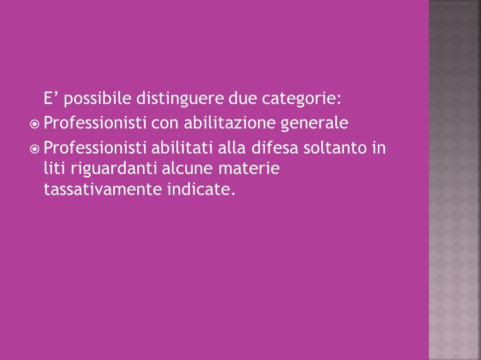 E' possibile distinguere due categorie:  Professionisti con abilitazione generale  Professionisti abilitati alla difesa soltanto in liti riguardanti