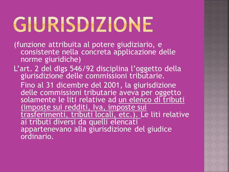 (funzione attribuita al potere giudiziario, e consistente nella concreta applicazione delle norme giuridiche) L'art. 2 del dlgs 546/92 disciplina l'og