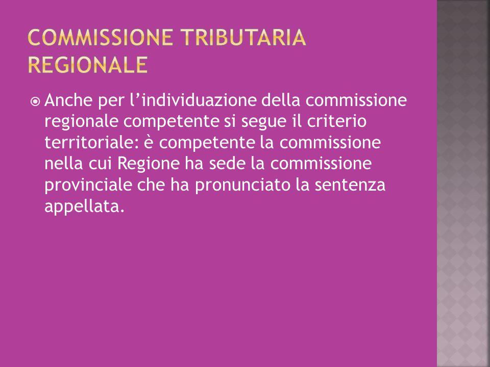  Anche per l'individuazione della commissione regionale competente si segue il criterio territoriale: è competente la commissione nella cui Regione h