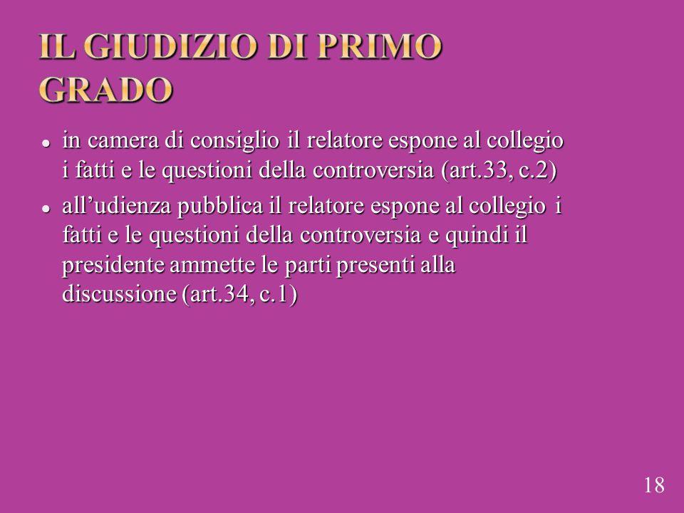 in camera di consiglio il relatore espone al collegio i fatti e le questioni della controversia (art.33, c.2) in camera di consiglio il relatore espon