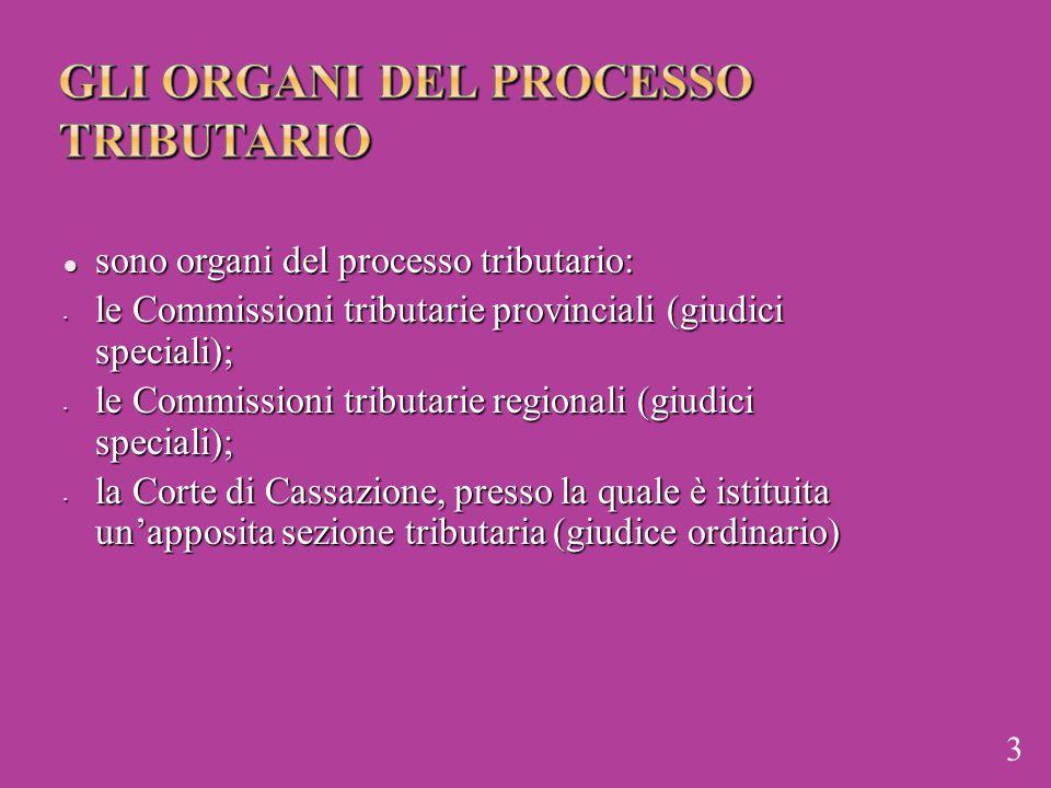sono organi del processo tributario: sono organi del processo tributario: le Commissioni tributarie provinciali (giudici speciali); le Commissioni tri