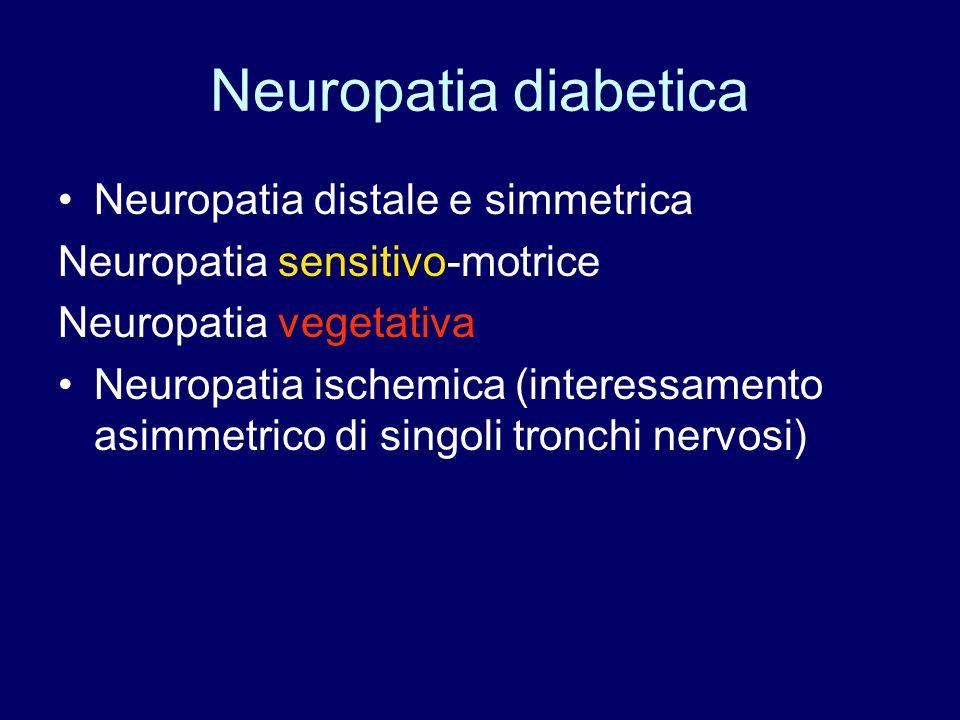 Neuropatia diabetica Neuropatia distale e simmetrica Neuropatia sensitivo-motrice Neuropatia vegetativa Neuropatia ischemica (interessamento asimmetri