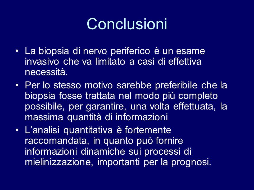 Conclusioni La biopsia di nervo periferico è un esame invasivo che va limitato a casi di effettiva necessità. Per lo stesso motivo sarebbe preferibile