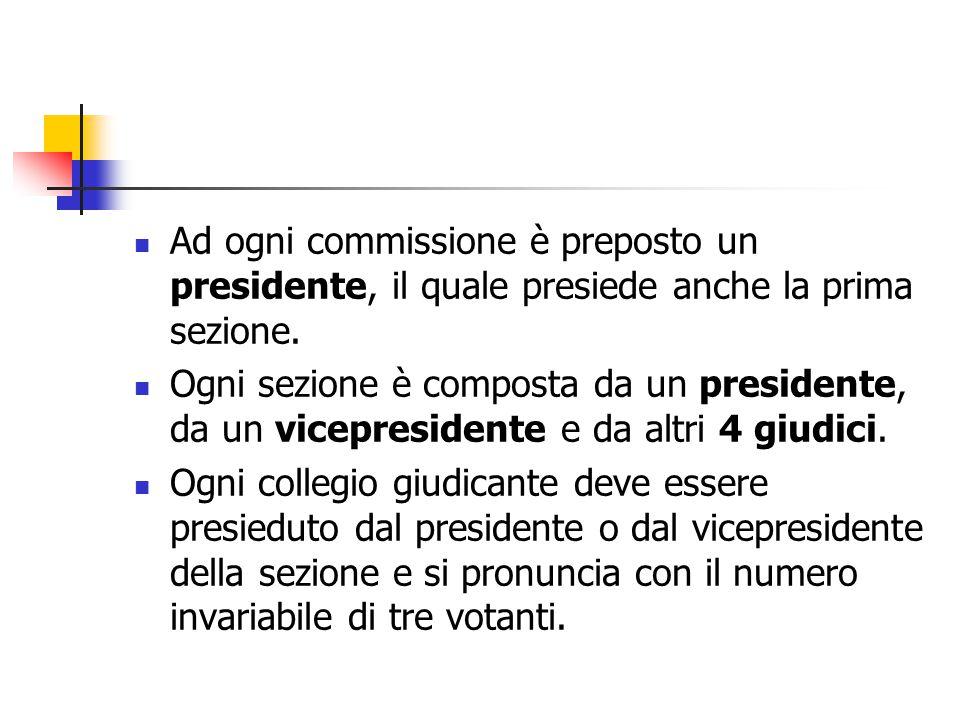 Ad ogni commissione è preposto un presidente, il quale presiede anche la prima sezione. Ogni sezione è composta da un presidente, da un vicepresidente