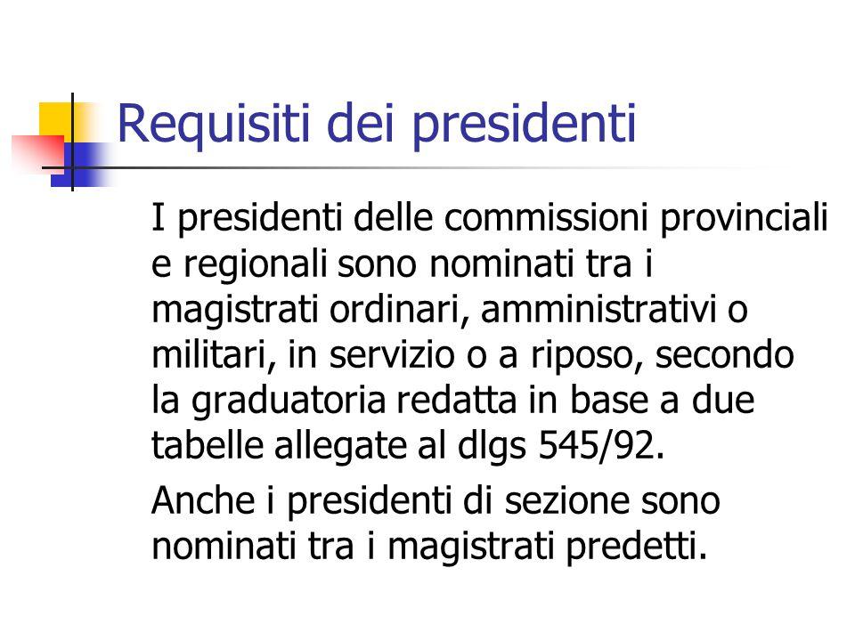 Requisiti dei presidenti I presidenti delle commissioni provinciali e regionali sono nominati tra i magistrati ordinari, amministrativi o militari, in