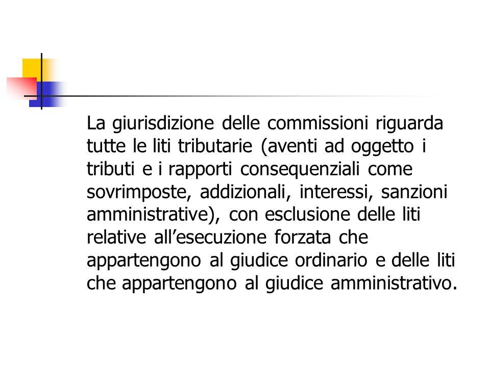 La giurisdizione delle commissioni riguarda tutte le liti tributarie (aventi ad oggetto i tributi e i rapporti consequenziali come sovrimposte, addizi