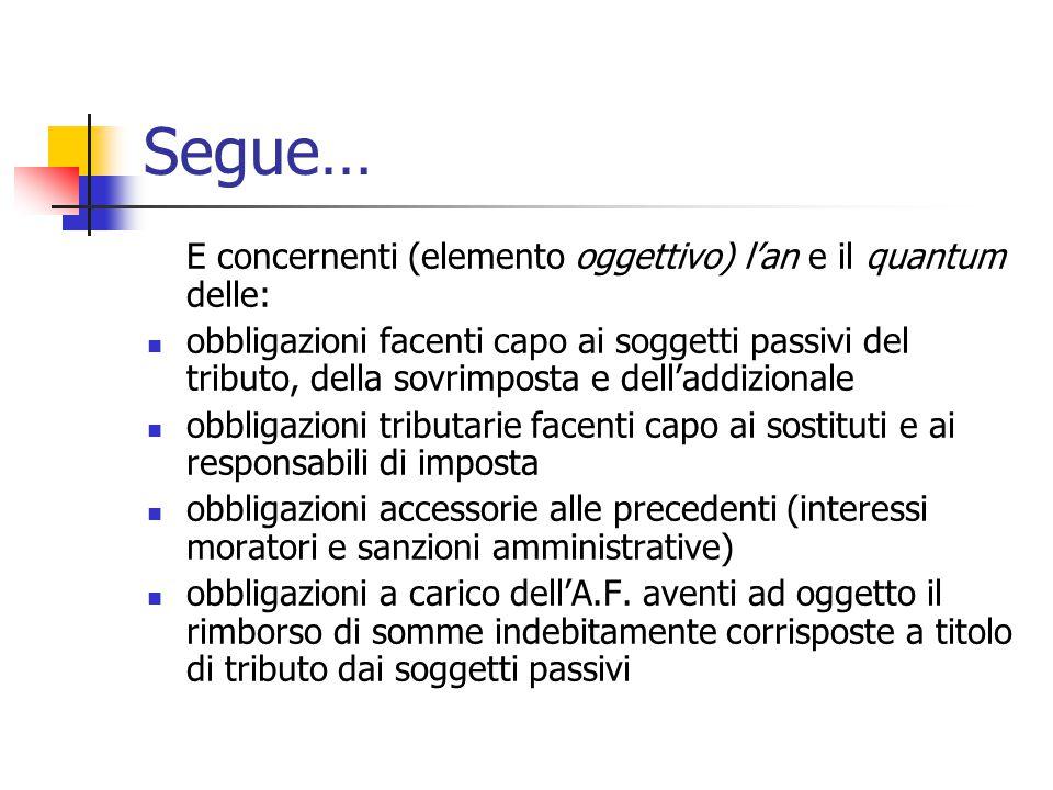 Segue… E concernenti (elemento oggettivo) l'an e il quantum delle: obbligazioni facenti capo ai soggetti passivi del tributo, della sovrimposta e dell