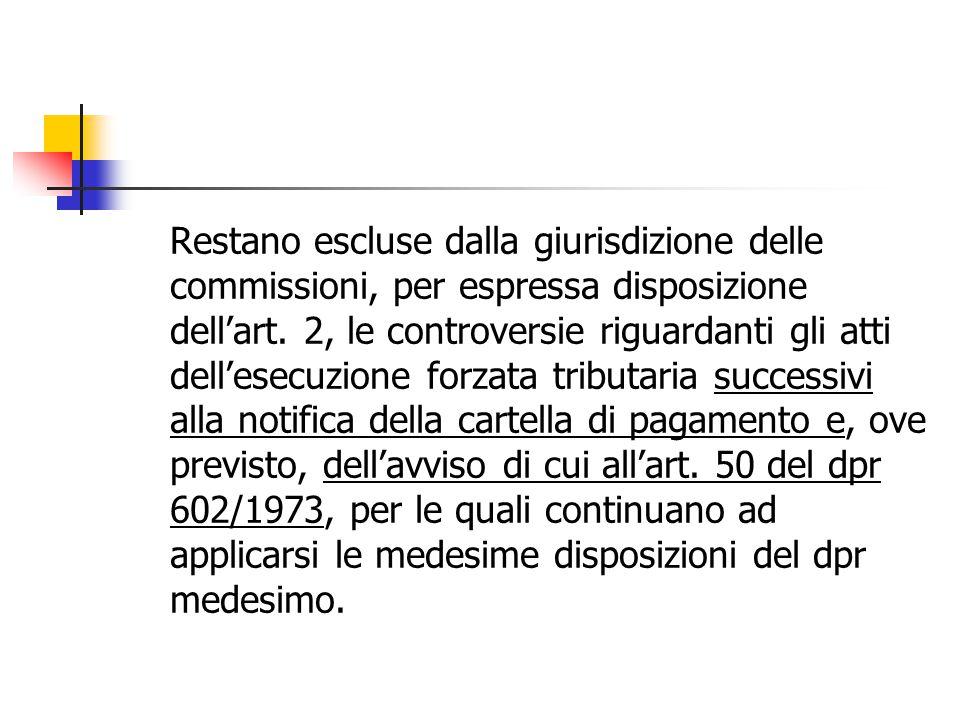 Restano escluse dalla giurisdizione delle commissioni, per espressa disposizione dell'art. 2, le controversie riguardanti gli atti dell'esecuzione for