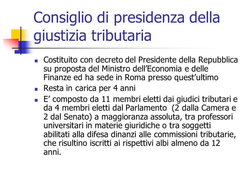 Consiglio di presidenza della giustizia tributaria Costituito con decreto del Presidente della Repubblica su proposta del Ministro dell'Economia e del