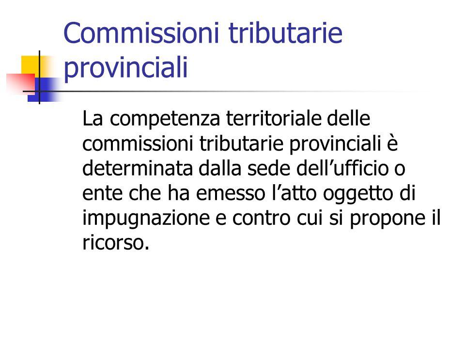 Commissioni tributarie provinciali La competenza territoriale delle commissioni tributarie provinciali è determinata dalla sede dell'ufficio o ente ch