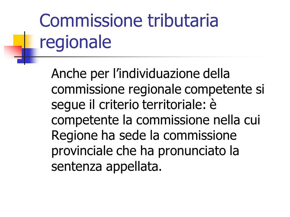 Commissione tributaria regionale Anche per l'individuazione della commissione regionale competente si segue il criterio territoriale: è competente la