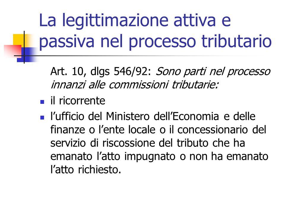 La legittimazione attiva e passiva nel processo tributario Art. 10, dlgs 546/92: Sono parti nel processo innanzi alle commissioni tributarie: il ricor
