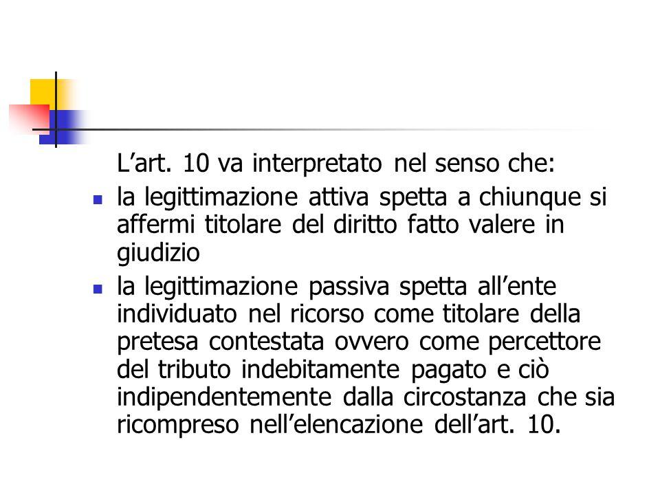 L'art. 10 va interpretato nel senso che: la legittimazione attiva spetta a chiunque si affermi titolare del diritto fatto valere in giudizio la legitt