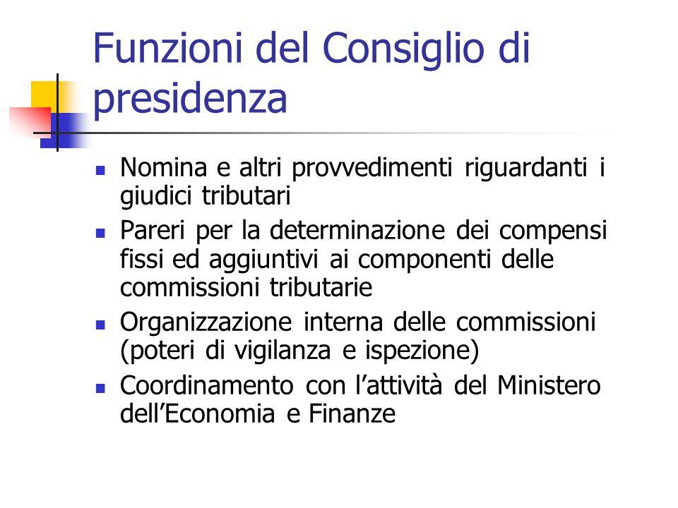 Funzioni del Consiglio di presidenza Nomina e altri provvedimenti riguardanti i giudici tributari Pareri per la determinazione dei compensi fissi ed a