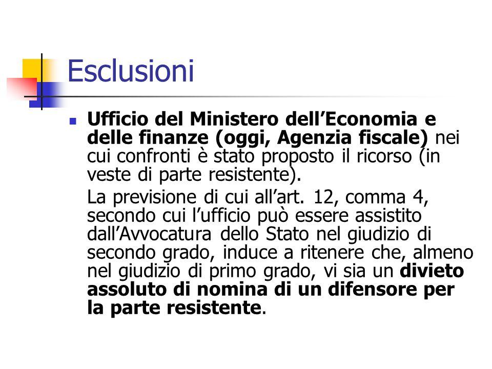 Esclusioni Ufficio del Ministero dell'Economia e delle finanze (oggi, Agenzia fiscale) nei cui confronti è stato proposto il ricorso (in veste di part
