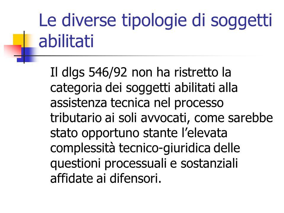 Le diverse tipologie di soggetti abilitati Il dlgs 546/92 non ha ristretto la categoria dei soggetti abilitati alla assistenza tecnica nel processo tr