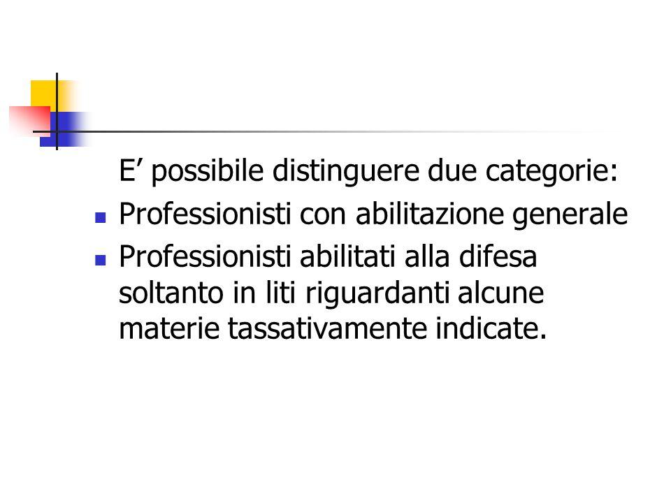 E' possibile distinguere due categorie: Professionisti con abilitazione generale Professionisti abilitati alla difesa soltanto in liti riguardanti alc