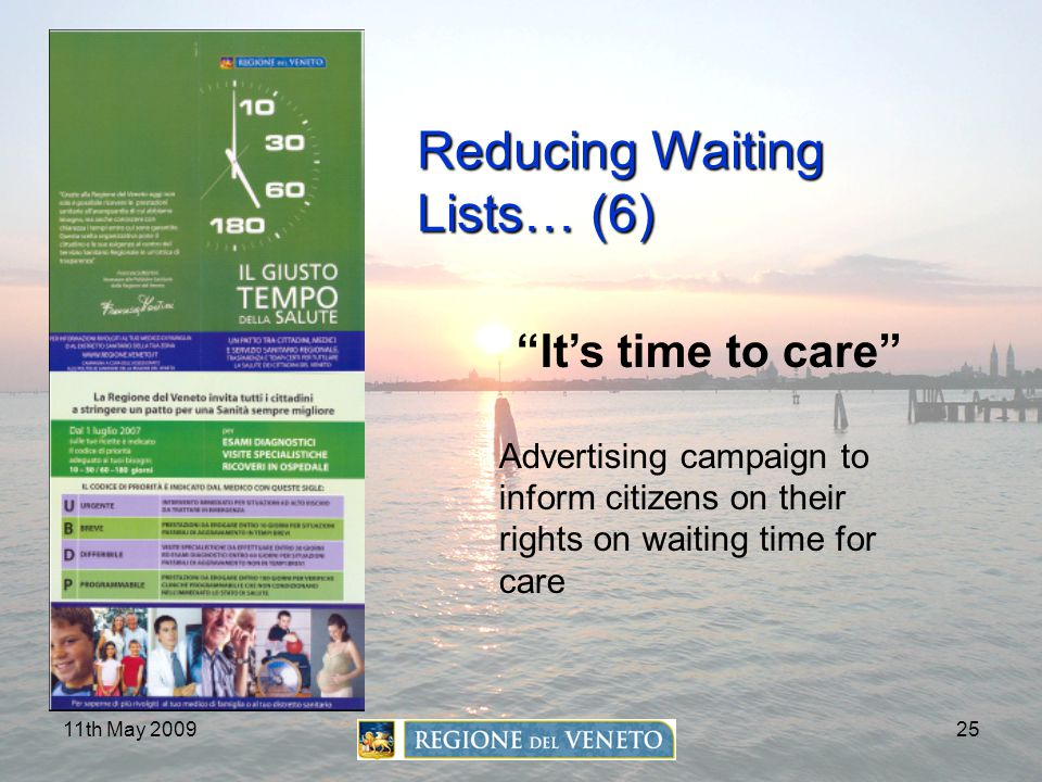 "11th May 200925 Reducing Waiting Lists… (6) ""It's time to care"" Advertising campaign to inform citizens on their rights on waiting time for care"