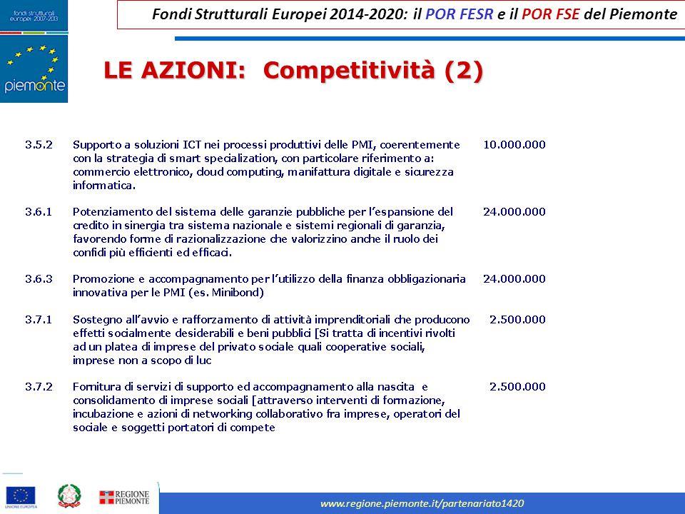 Fondi Strutturali Europei 2014-2020: il POR FESR e il POR FSE del Piemonte www.regione.piemonte.it/partenariato1420 LE AZIONI: Competitività (2)