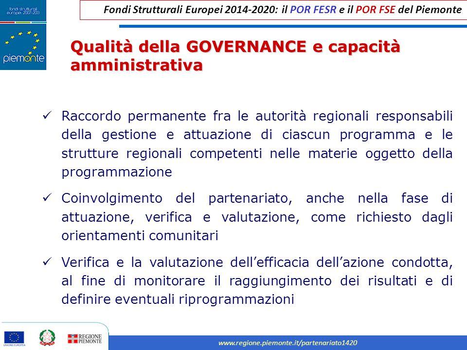 Fondi Strutturali Europei 2014-2020: il POR FESR e il POR FSE del Piemonte www.regione.piemonte.it/partenariato1420 Qualità della GOVERNANCE e capacit