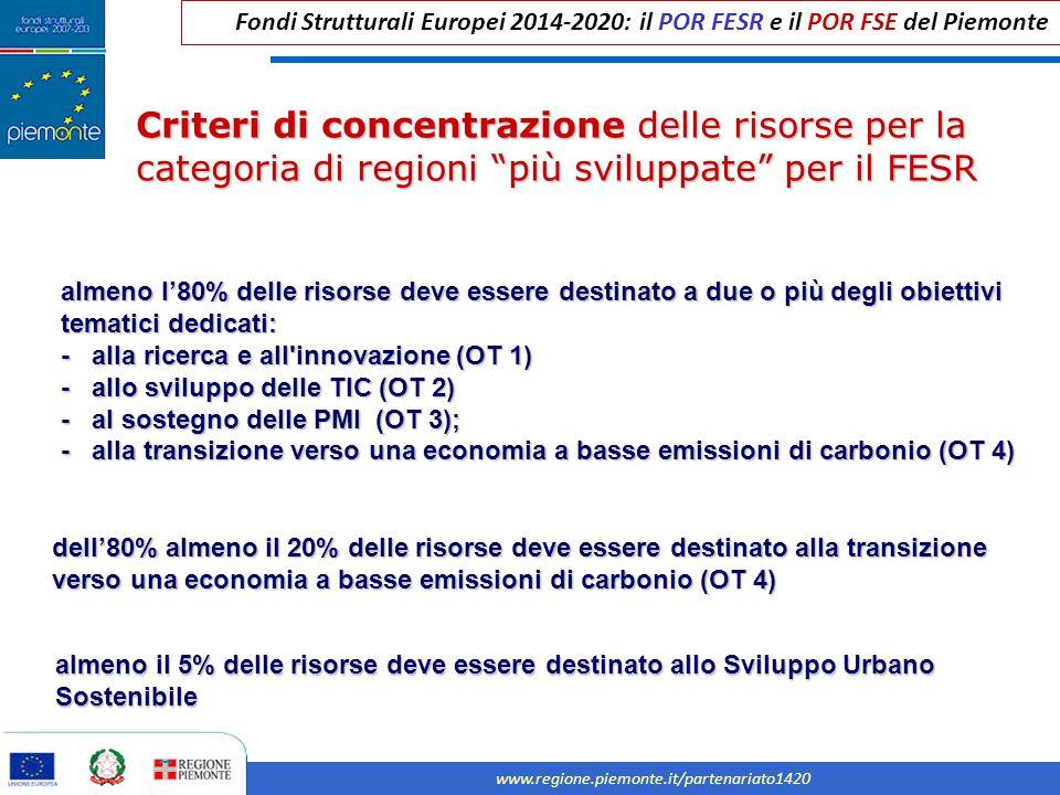 Fondi Strutturali Europei 2014-2020: il POR FESR e il POR FSE del Piemonte www.regione.piemonte.it/partenariato1420 Criteri di concentrazione delle risorse per la categoria di regioni più sviluppate per il FESR almeno l'80% delle risorse deve essere destinato a due o più degli obiettivi tematici dedicati: - alla ricerca e all innovazione (OT 1) - allo sviluppo delle TIC (OT 2) - al sostegno delle PMI (OT 3); - alla transizione verso una economia a basse emissioni di carbonio (OT 4) almeno il 5% delle risorse deve essere destinato allo Sviluppo Urbano Sostenibile dell'80% almeno il 20% delle risorse deve essere destinato alla transizione verso una economia a basse emissioni di carbonio (OT 4)