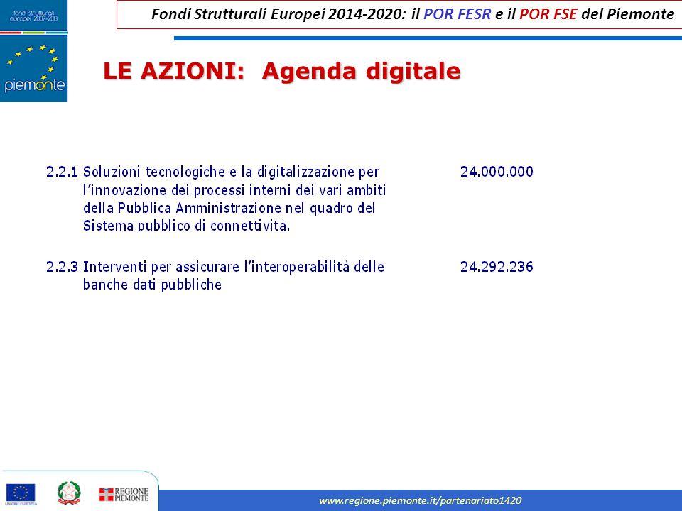 Fondi Strutturali Europei 2014-2020: il POR FESR e il POR FSE del Piemonte www.regione.piemonte.it/partenariato1420 LE AZIONI: Agenda digitale