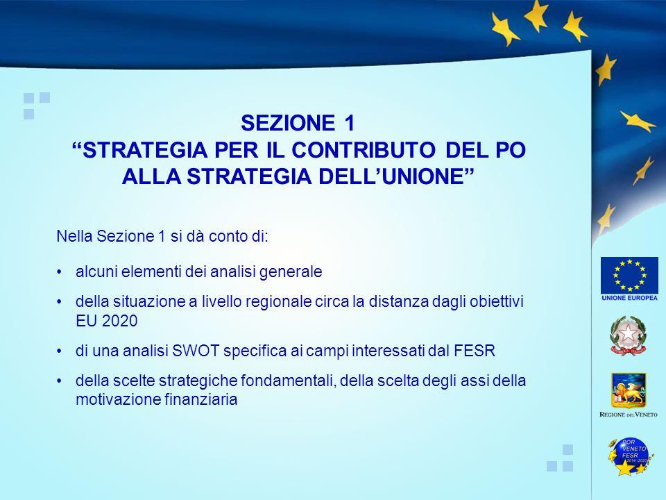 Nella Sezione 1 si dà conto di: alcuni elementi dei analisi generale della situazione a livello regionale circa la distanza dagli obiettivi EU 2020 di