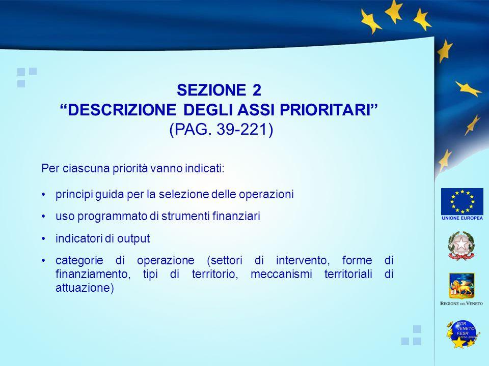Per ciascuna priorità vanno indicati: principi guida per la selezione delle operazioni uso programmato di strumenti finanziari indicatori di output categorie di operazione (settori di intervento, forme di finanziamento, tipi di territorio, meccanismi territoriali di attuazione) SEZIONE 2 DESCRIZIONE DEGLI ASSI PRIORITARI (PAG.