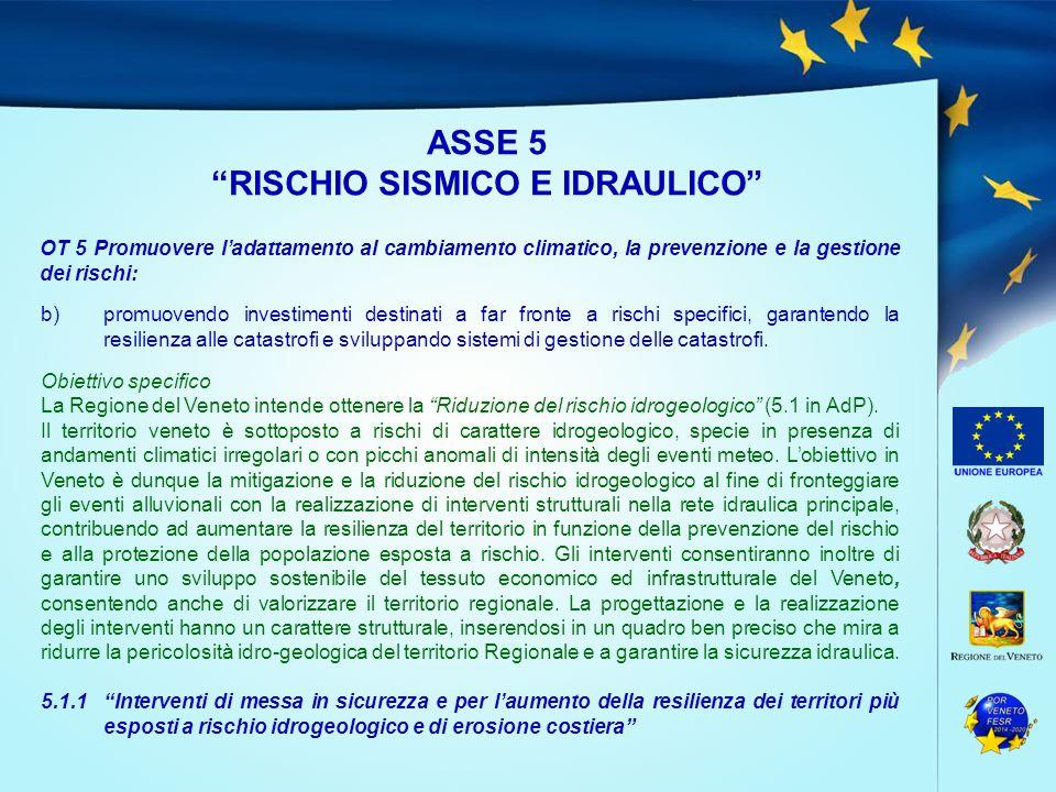 """ASSE 5 """"RISCHIO SISMICO E IDRAULICO"""" OT 5 Promuovere l'adattamento al cambiamento climatico, la prevenzione e la gestione dei rischi: b)promuovendo in"""