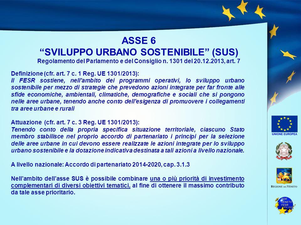 """ASSE 6 """"SVILUPPO URBANO SOSTENIBILE"""" (SUS) Regolamento del Parlamento e del Consiglio n. 1301 del 20.12.2013, art. 7 Definizione (cfr. art. 7 c. 1 Reg"""
