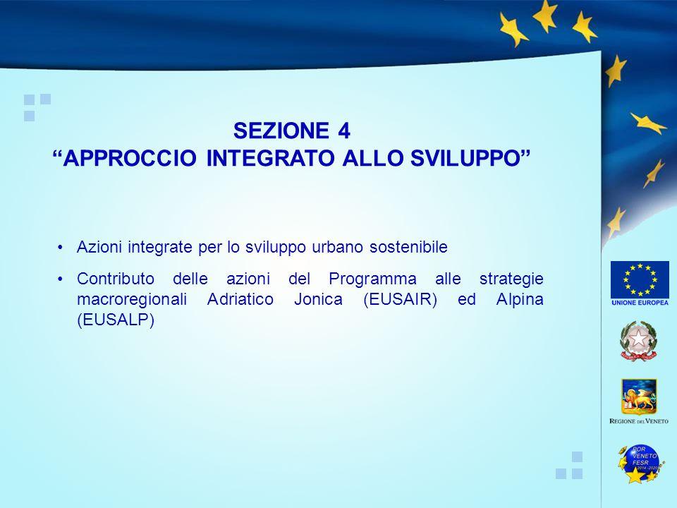 Azioni integrate per lo sviluppo urbano sostenibile Contributo delle azioni del Programma alle strategie macroregionali Adriatico Jonica (EUSAIR) ed Alpina (EUSALP) SEZIONE 4 APPROCCIO INTEGRATO ALLO SVILUPPO