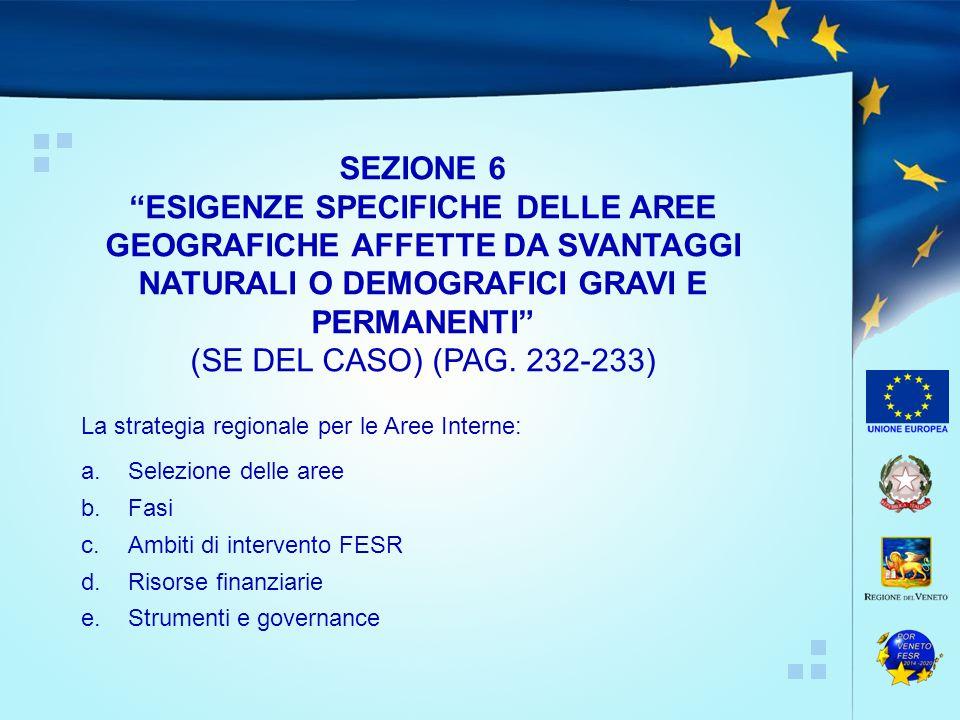 La strategia regionale per le Aree Interne: a.Selezione delle aree b.Fasi c.Ambiti di intervento FESR d.Risorse finanziarie e.Strumenti e governance SEZIONE 6 ESIGENZE SPECIFICHE DELLE AREE GEOGRAFICHE AFFETTE DA SVANTAGGI NATURALI O DEMOGRAFICI GRAVI E PERMANENTI (SE DEL CASO) (PAG.