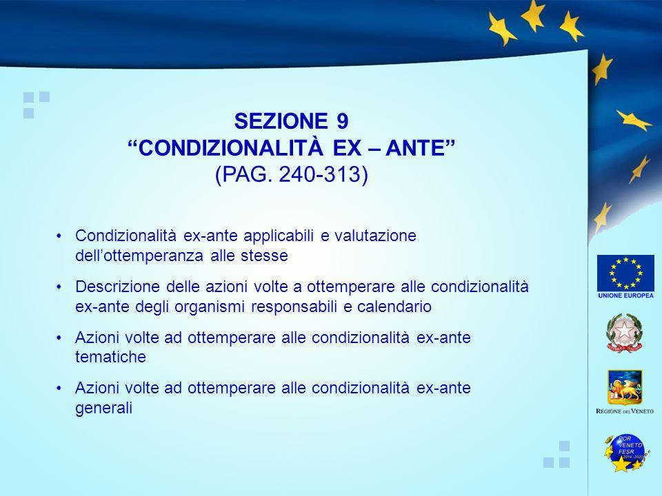Condizionalità ex-ante applicabili e valutazione dell'ottemperanza alle stesse Descrizione delle azioni volte a ottemperare alle condizionalità ex-ant