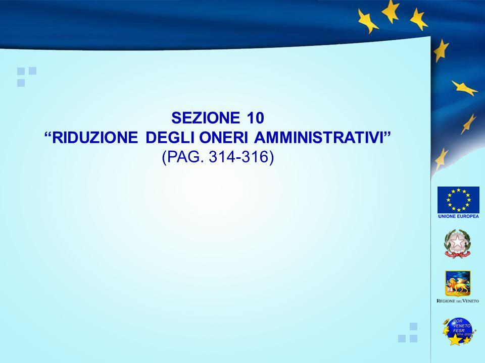 """SEZIONE 10 """"RIDUZIONE DEGLI ONERI AMMINISTRATIVI"""" (PAG. 314-316)"""