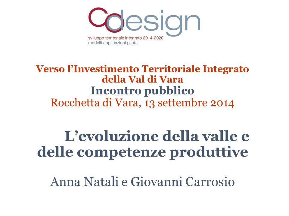 Verso l'Investimento Territoriale Integrato della Val di Vara Incontro pubblico Rocchetta di Vara, 13 settembre 2014 L'evoluzione della valle e delle