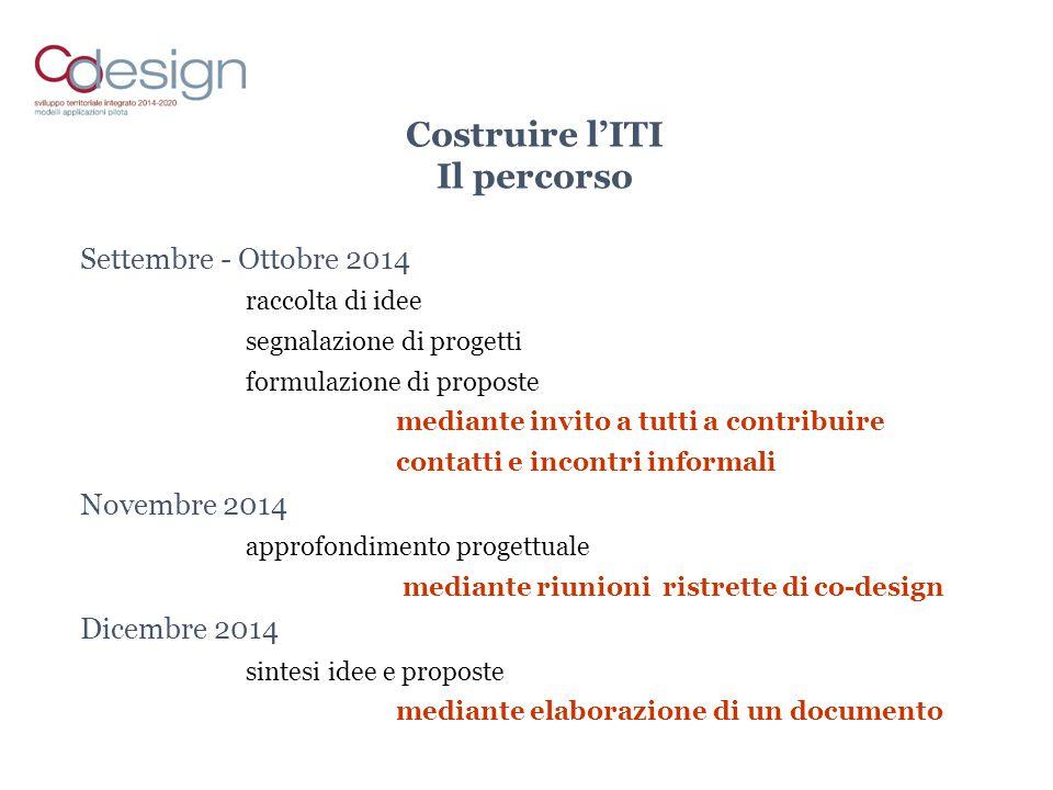 Costruire l'ITI Il percorso Settembre - Ottobre 2014 raccolta di idee segnalazione di progetti formulazione di proposte mediante invito a tutti a cont