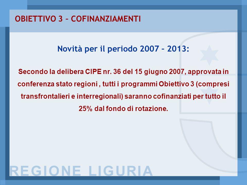OBIETTIVO 3 – COFINANZIAMENTI Novità per il periodo 2007 – 2013: Secondo la delibera CIPE nr.
